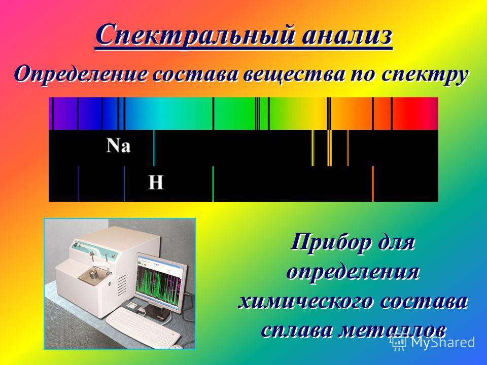 Спектральный анализ Определение состава вещества по спектру Прибор для определения химического состава сплава металлов