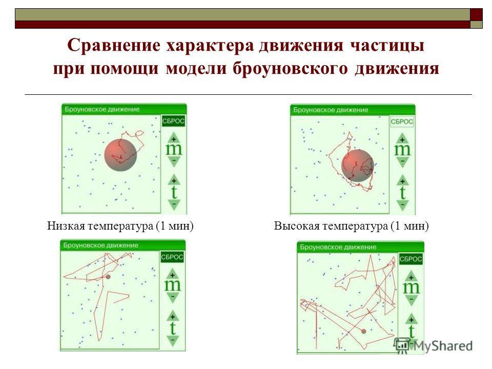 Низкая температура (1 мин)Высокая температура (1 мин) Сравнение характера движения частицы при помощи модели броуновского движения