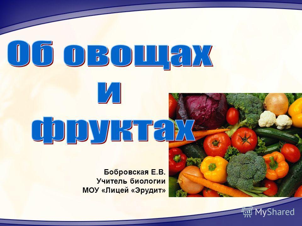 Бобровская Е.В. Учитель биологии МОУ «Лицей «Эрудит»