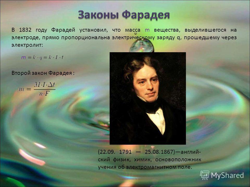 В 1832 году Фарадей установил, что масса m вещества, выделившегося на электроде, прямо пропорциональна электрическому заряду q, прошедшему через электролит: m Второй закон Фарадея : (22.09. 1791 25.08.1867)англий- ский физик, химик, основоположник уч