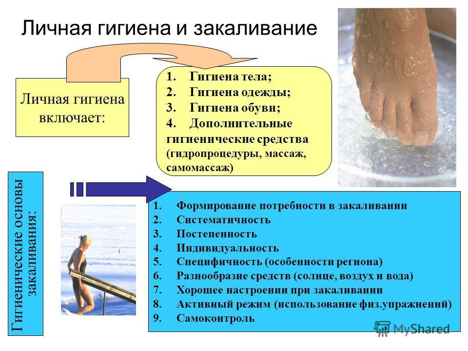 Личная гигиена и закаливание Личная гигиена включает: 1.Гигиена тела; 2.Гигиена одежды; 3.Гигиена обуви; 4.Дополнительные гигиенические средства (гидропроцедуры, массаж, самомассаж) Гигиенические основы закаливания: 1.Формирование потребности в закал