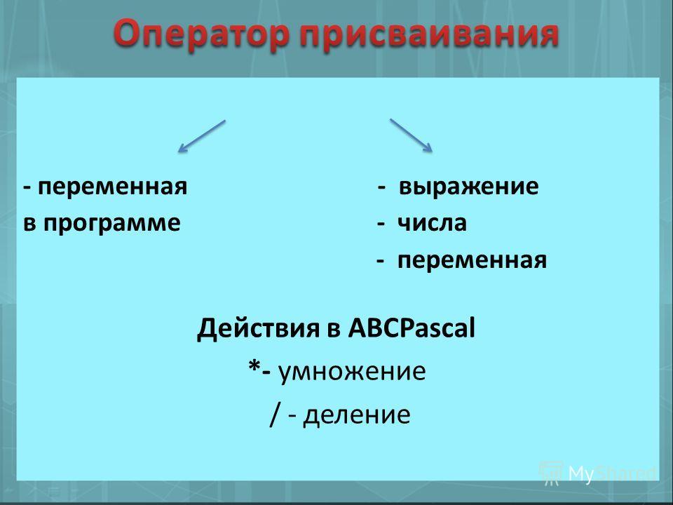Действия в АВСPascal *- умножение / - деление - переменная - выражение в программе - числа - переменная