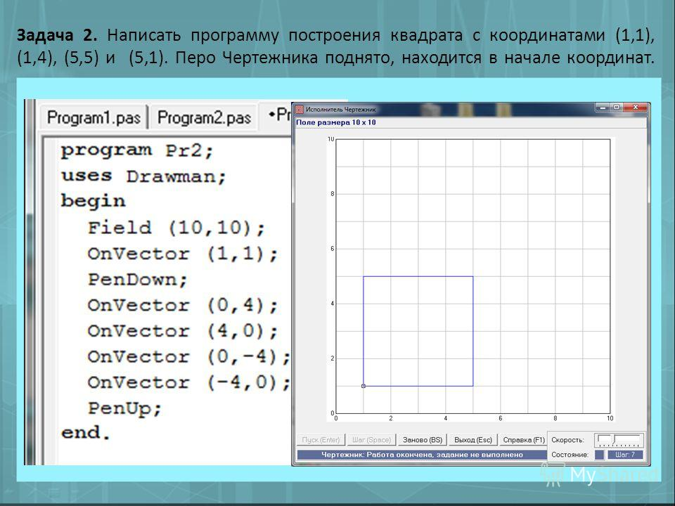 Задача 2. Написать программу построения квадрата с координатами (1,1), (1,4), (5,5) и (5,1). Перо Чертежника поднято, находится в начале координат.