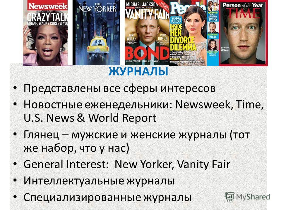 Журнальный рынок ЖУРНАЛЫ Представлены все сферы интересов Новостные еженедельники: Newsweek, Time, U.S. News & World Report Глянец – мужские и женские журналы (тот же набор, что у нас) General Interest: New Yorker, Vanity Fair Интеллектуальные журнал