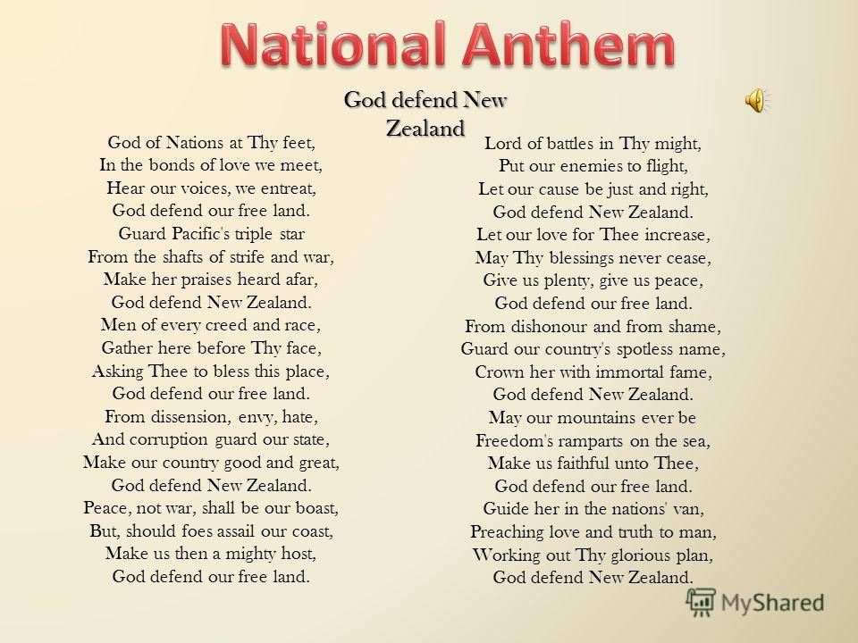 God of Nations at Thy feet, In the bonds of love we meet, Hear our voices, we entreat, God defend our free land. Guard Pacific's triple star From the shafts of strife and war, Make her praises heard afar, God defend New Zealand. Men of every creed an