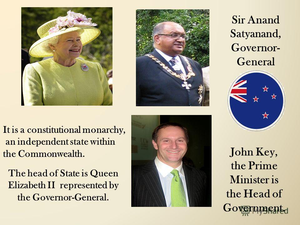 The head of State is Queen Elizabeth II represented by the Governor-General. Sir Anand Satyanand, Governor- General John Key, the Prime Minister is the Head of Government. It is a constitutional monarchy, an independent state within the Commonwealth.