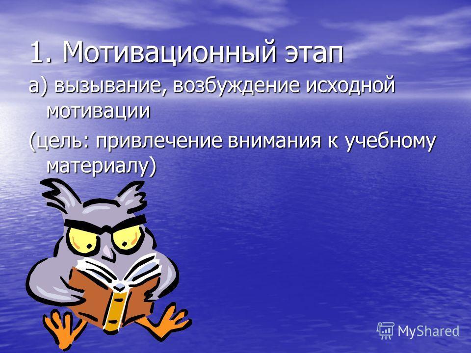 1. Мотивационный этап а) вызывание, возбуждение исходной мотивации (цель: привлечение внимания к учебному материалу)