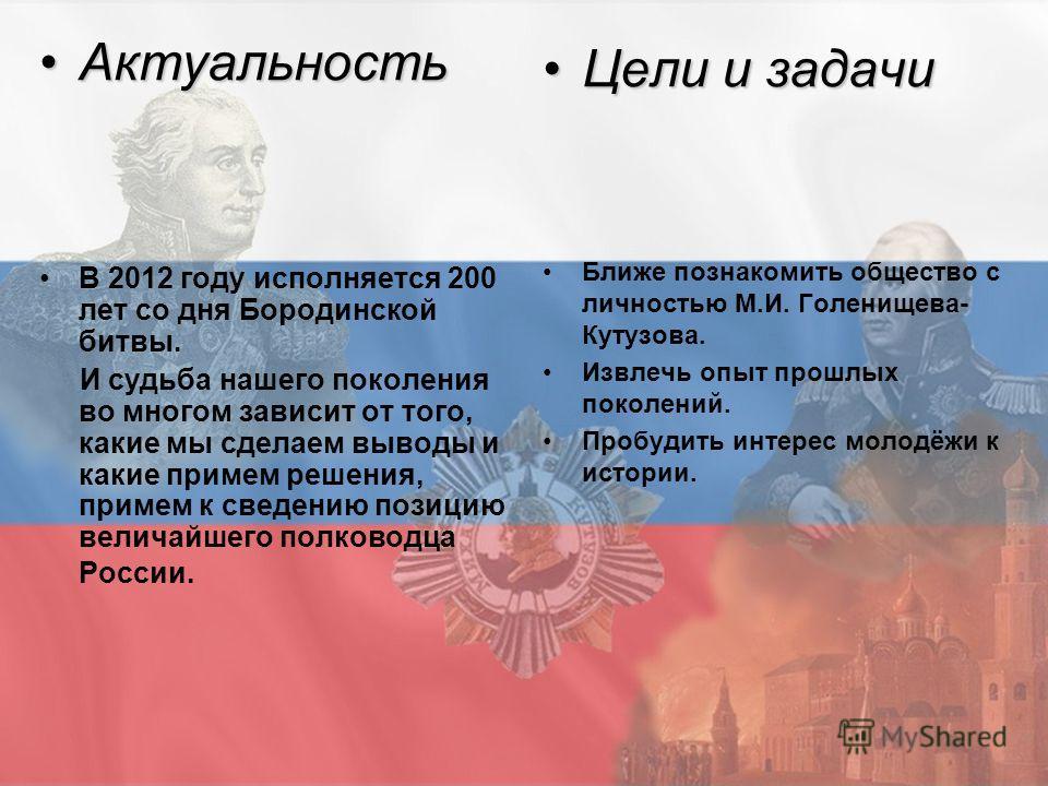 АктуальностьАктуальность В 2012 году исполняется 200 лет со дня Бородинской битвы. И судьба нашего поколения во многом зависит от того, какие мы сделаем выводы и какие примем решения, примем к сведению позицию величайшего полководца России. Цели и за