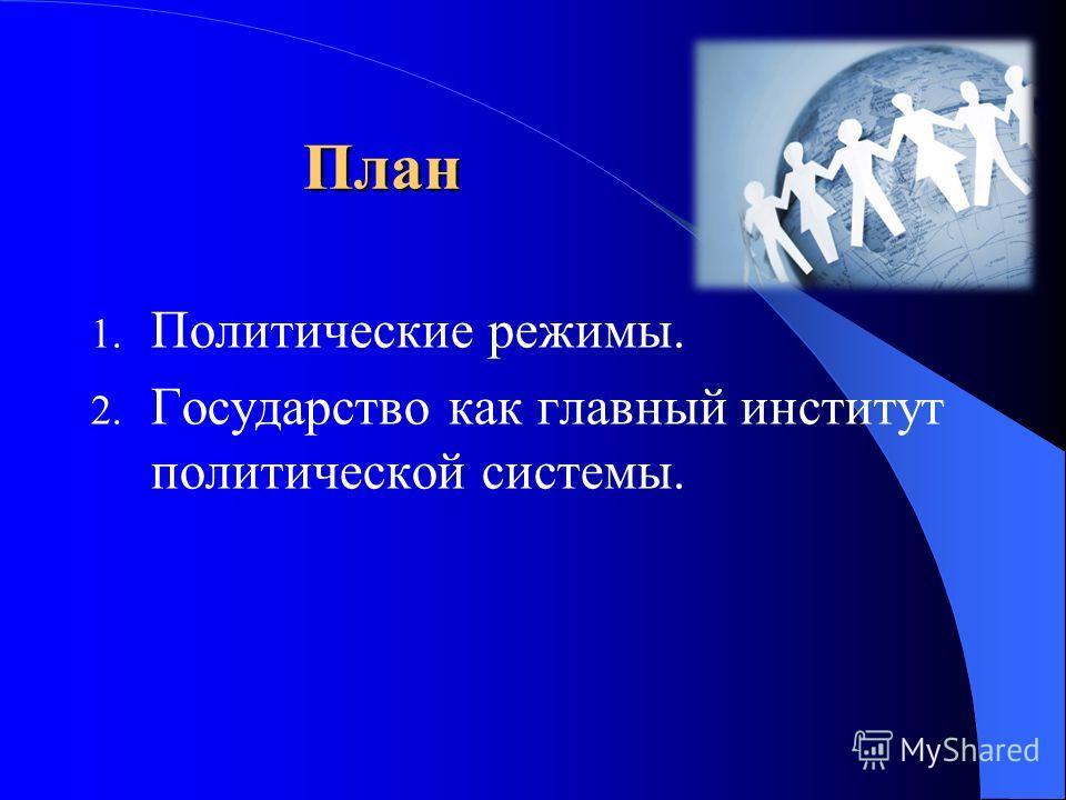 План 1. Политические режимы. 2. Государство как главный институт политической системы.