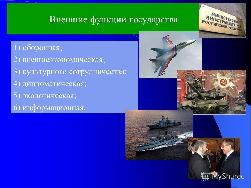 Внешние функции государства 1) оборонная; 2) внешнеэкономическая; 3) культурного сотрудничества; 4) дипломатическая; 5) экологическая; 6) информационная.