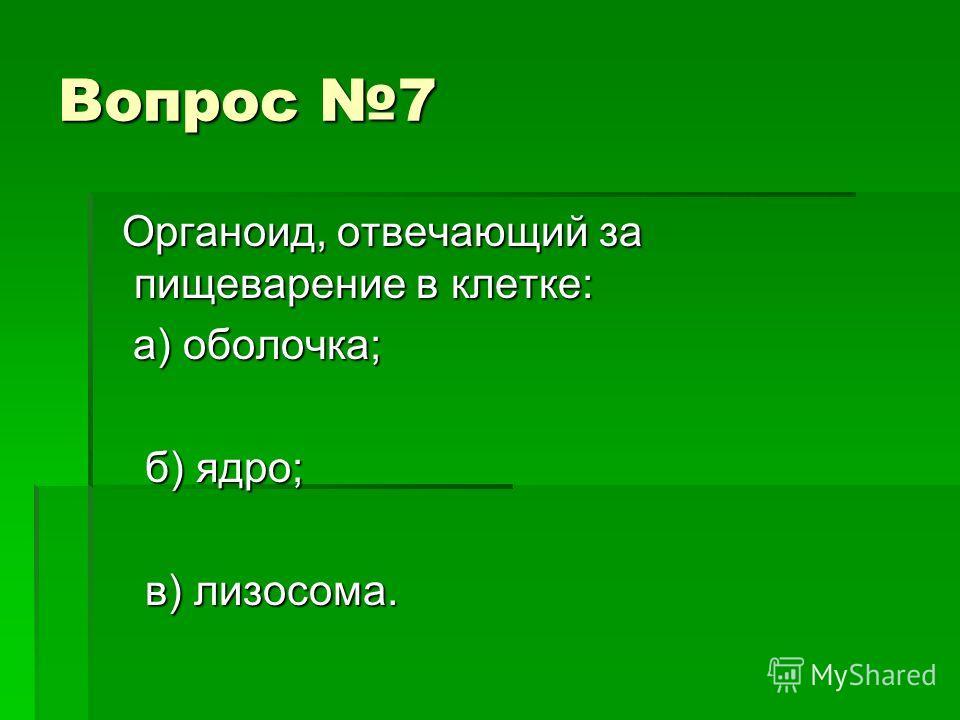 Вопрос 7 Органоид, отвечающий за пищеварение в клетке: Органоид, отвечающий за пищеварение в клетке: а) оболочка; а) оболочка; б) ядро; б) ядро; в) лизосома. в) лизосома.