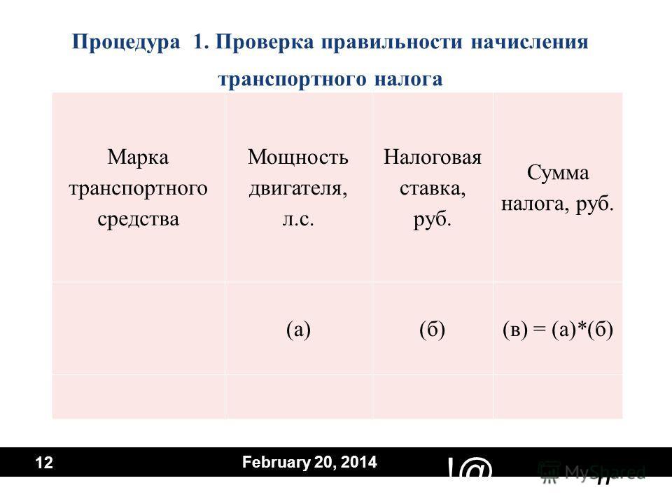 # !@ February 20, 2014 12 Процедура 1. Проверка правильности начисления транспортного налога Марка транспортного средства Мощность двигателя, л.с. Налоговая ставка, руб. Сумма налога, руб. (а)(б)(в) = (а)*(б)