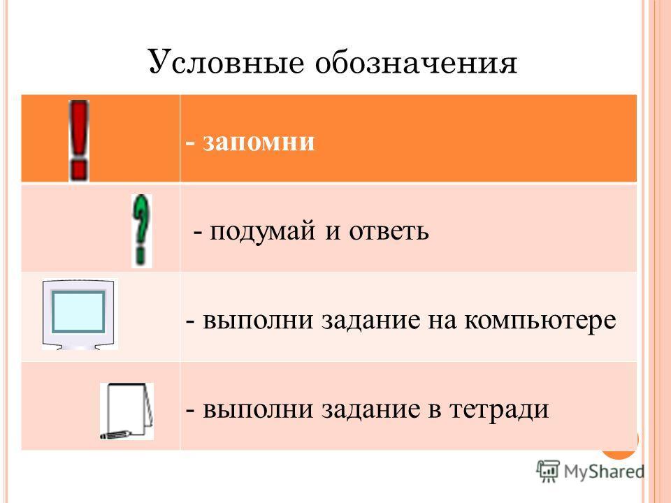 - запомни - подумай и ответь - выполни задание на компьютере - выполни задание в тетради Условные обозначения