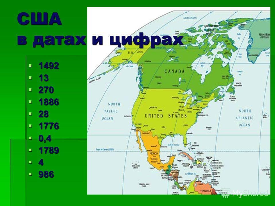 США в датах и цифрах 1492 1492 13 13 270 270 1886 1886 28 28 1776 1776 0,4 0,4 1789 1789 4 986 986