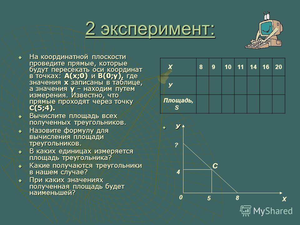 2 эксперимент: На координатной плоскости проведите прямые, которые будут пересекать оси координат в точках: А(х;0) и В(0;у), где значения x записаны в таблице, а значения у – находим путем измерения. Известно, что прямые проходят через точку С(5;4).