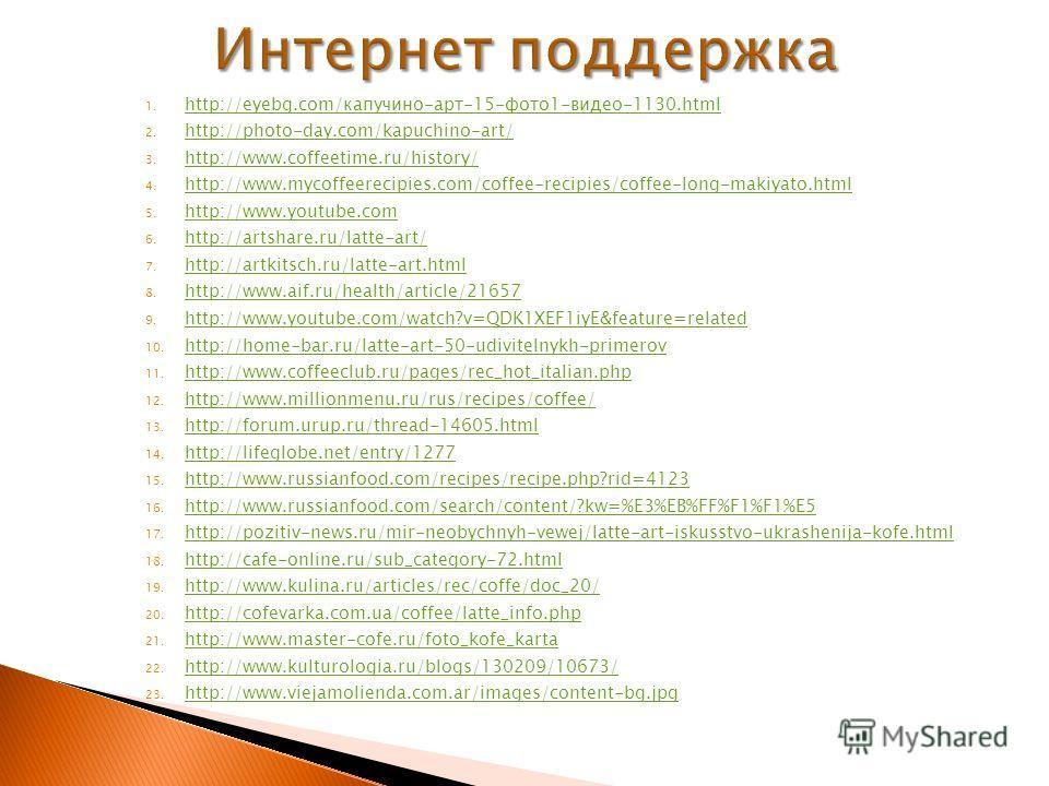 1. http://eyebg.com/капучино-арт-15-фото1-видео-1130.html http://eyebg.com/капучино-арт-15-фото1-видео-1130.html 2. http://photo-day.com/kapuchino-art/ http://photo-day.com/kapuchino-art/ 3. http://www.coffeetime.ru/history/ http://www.coffeetime.ru/