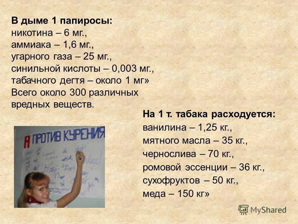 В дыме 1 папиросы: никотина – 6 мг., аммиака – 1,6 мг., угарного газа – 25 мг., синильной кислоты – 0,003 мг., табачного дегтя – около 1 мг» Всего около 300 различных вредных веществ. На 1 т. табака расходуется: ванилина – 1,25 кг., мятного масла – 3