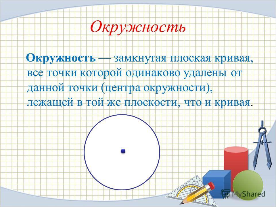 Окружность Окружность замкнутая плоская кривая, все точки которой одинаково удалены от данной точки (центра окружности), лежащей в той же плоскости, что и кривая.