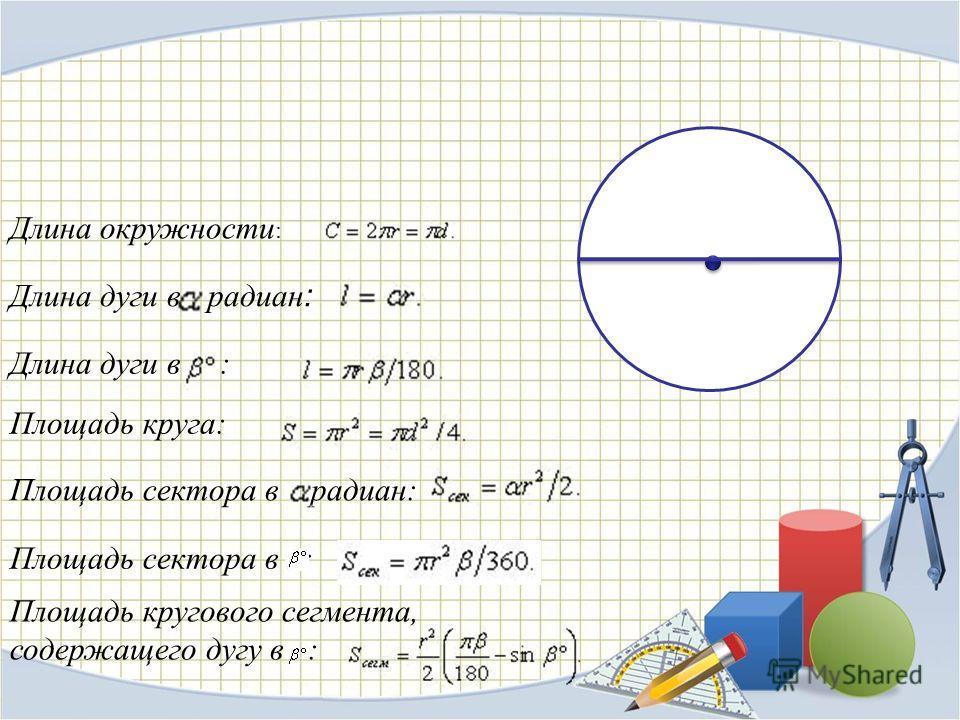 Длина окружности : Длина дуги в радиан : Длина дуги в : Площадь круга: Площадь сектора в радиан: Площадь сектора в : Площадь кругового сегмента, содержащего дугу в :
