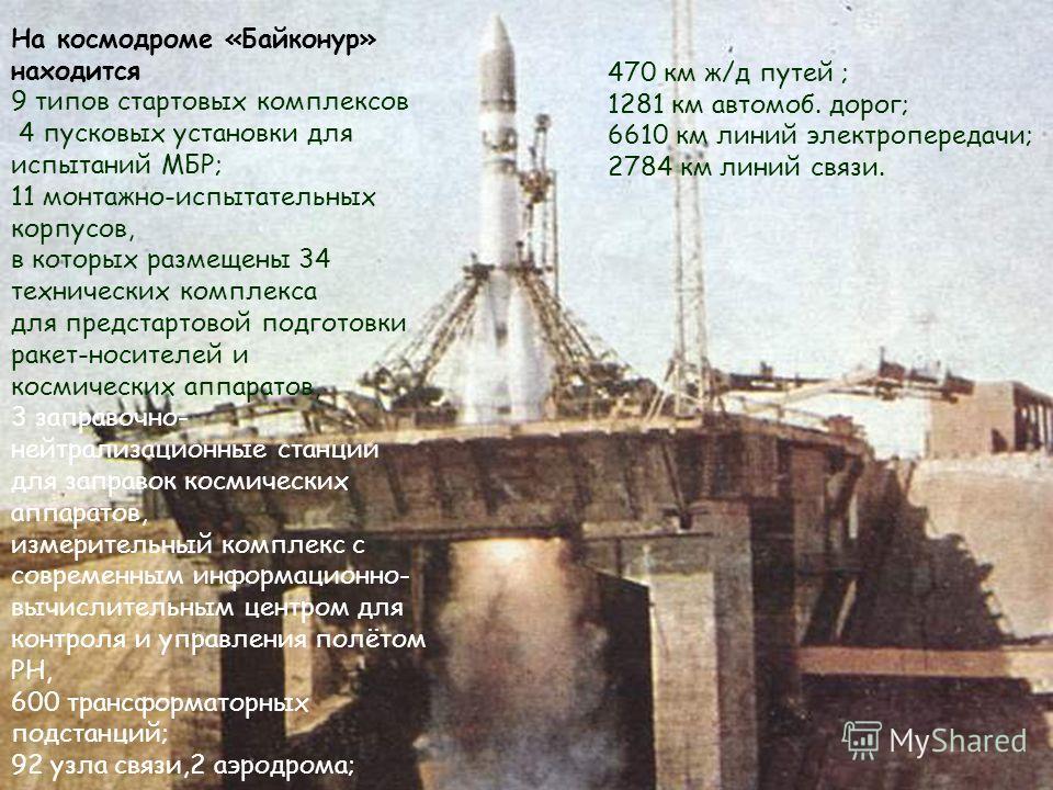 На космодроме «Байконур» находится 9 типов стартовых комплексов 4 пусковых установки для испытаний МБР; 11 монтажно-испытательных корпусов, в которых размещены 34 технических комплекса для предстартовой подготовки ракет-носителей и космических аппара