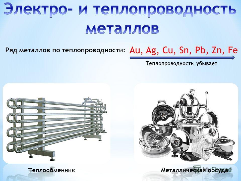 ТеплообменникМеталлическая посуда Au, Ag, Cu, Sn, Pb, Zn, Fe Теплопроводность убывает Ряд металлов по теплопроводности: