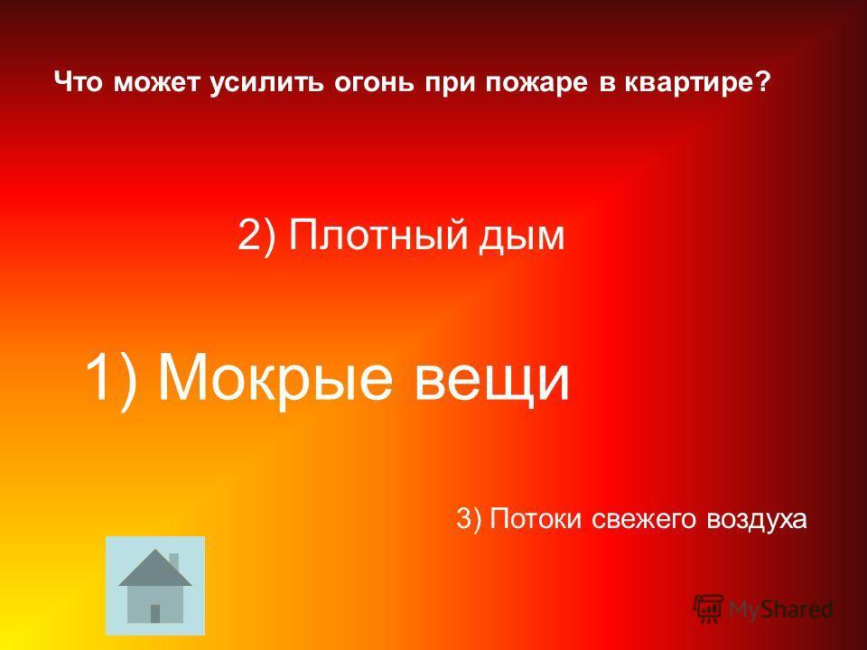 Что может усилить огонь при пожаре в квартире? 3) Потоки свежего воздуха 2) Плотный дым 1) Мокрые вещи