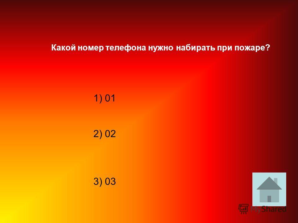 1) 01 2) 02 3) 03 Какой номер телефона нужно набирать при пожаре?