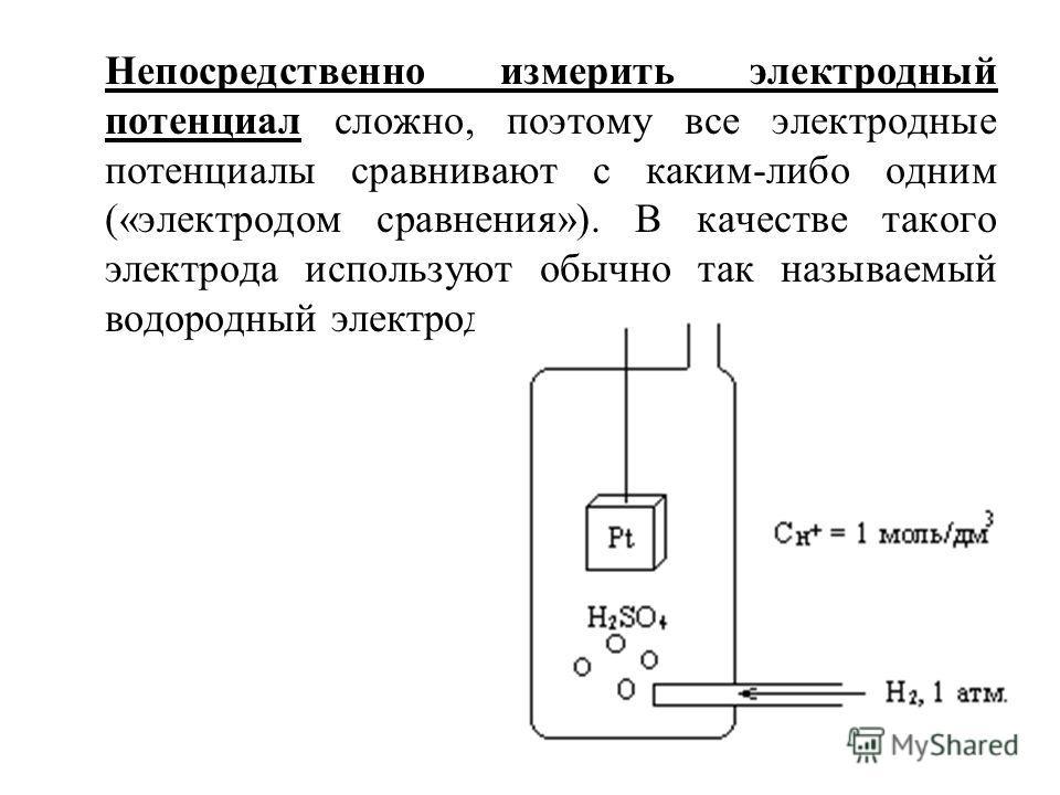 Непосредственно измерить электродный потенциал сложно, поэтому все электродные потенциалы сравнивают с каким-либо одним («электродом сравнения»). В качестве такого электрода используют обычно так называемый водородный электрод.