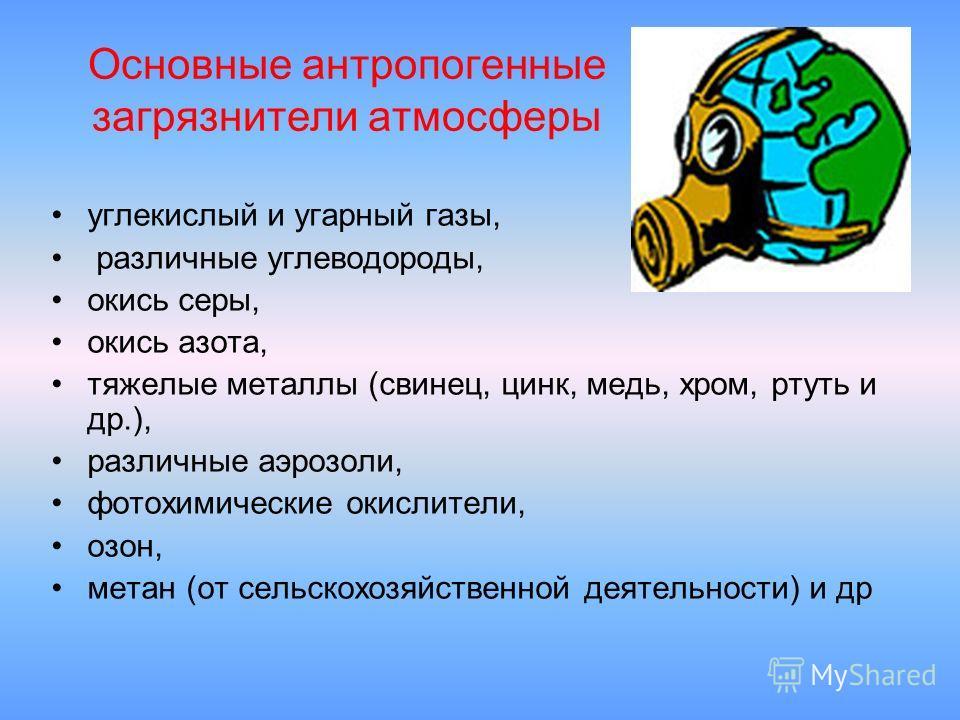 Основные антропогенные загрязнители атмосферы углекислый и угарный газы, различные углеводороды, окись серы, окись азота, тяжелые металлы (свинец, цинк, медь, хром, ртуть и др.), различные аэрозоли, фотохимические окислители, озон, метан (от сельскох