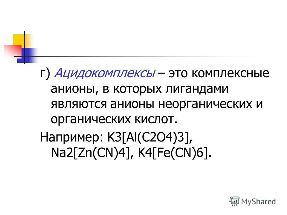г) Ацидокомплексы – это комплексные анионы, в которых лигандами являются анионы неорганических и органических кислот. Например: K3[Al(C2O4)3], Na2[Zn(CN)4], K4[Fe(CN)6].