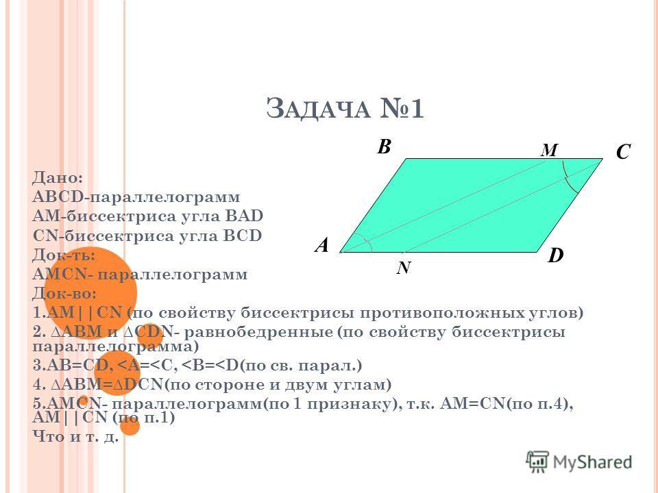 З АДАЧА 1 Дано: АВСD-параллелограмм АМ-биссектриса угла ВАD CN-биссектриса угла BCD Док-ть: AMCN- параллелограмм Док-во: 1.AM||CN (по свойству биссектрисы противоположных углов) 2. ABM и CDN- равнобедренные (по свойству биссектрисы параллелограмма) 3