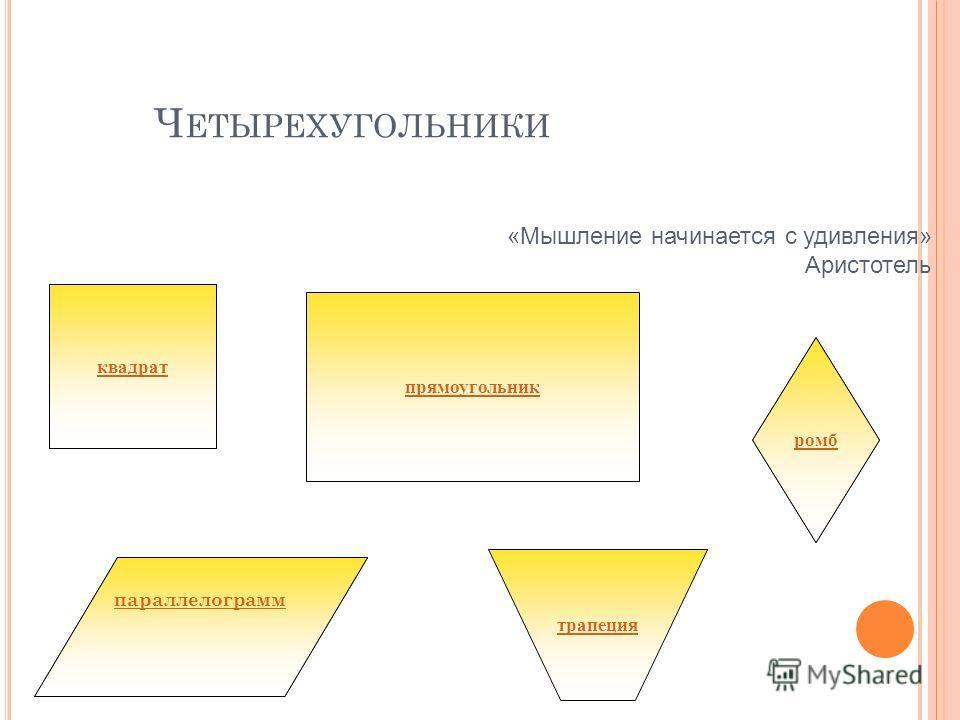 параллелограмм Ч ЕТЫРЕХУГОЛЬНИКИ прямоугольник ромб квадрат трапеция «Мышление начинается с удивления» Аристотель параллелограмм ромб