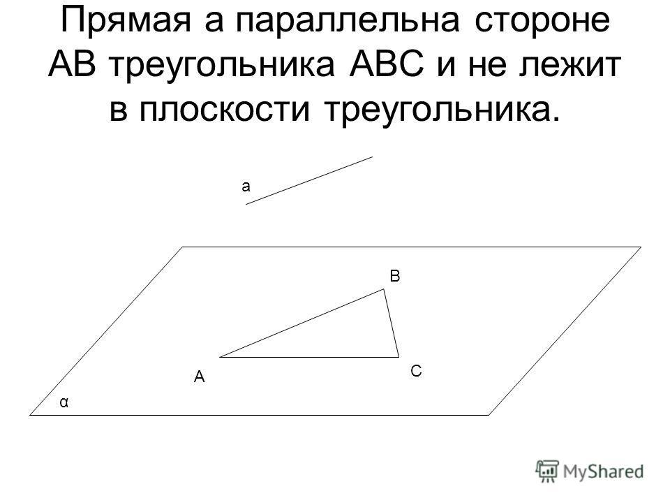 Прямая а параллельна стороне АВ треугольника АВС и не лежит в плоскости треугольника. А В С а α