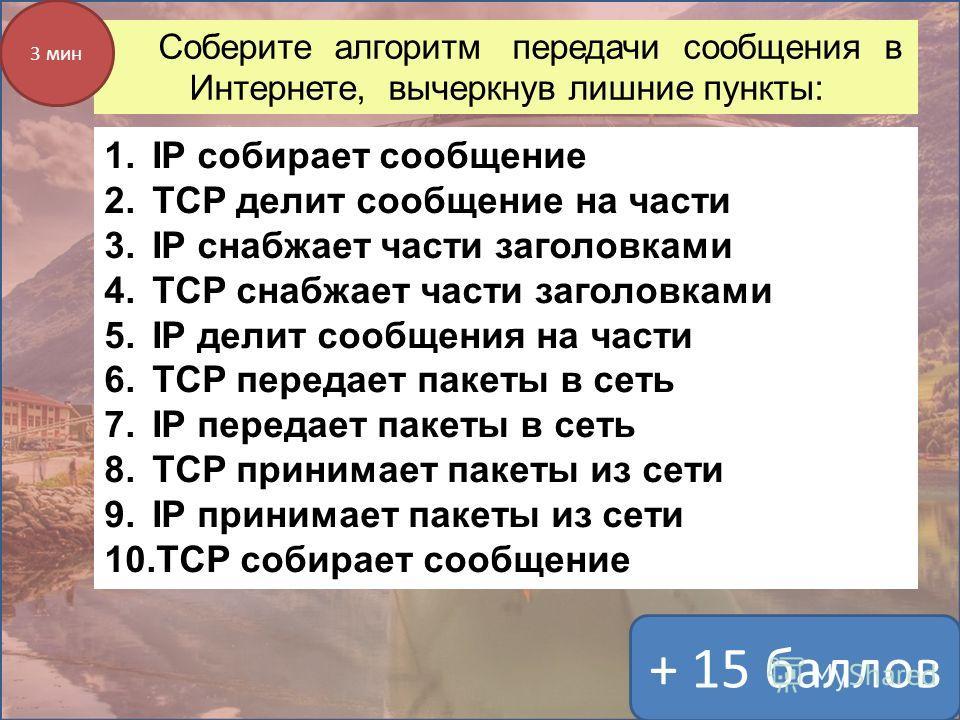 Соберите алгоритм передачи сообщения в Интернете, вычеркнув лишние пункты: 1.IP собирает сообщение 2.TCP делит сообщение на части 3.IP снабжает части заголовками 4.TCP снабжает части заголовками 5.IP делит сообщения на части 6.TCP передает пакеты в с