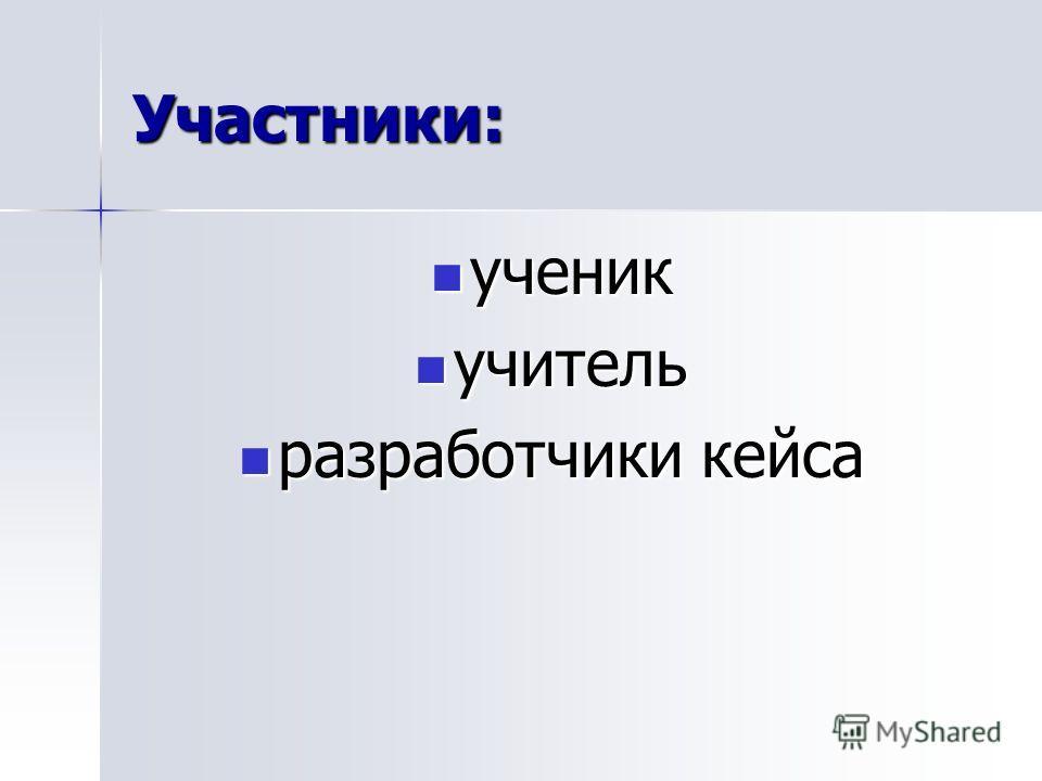 Участники: ученик ученик учитель учитель разработчики кейса разработчики кейса