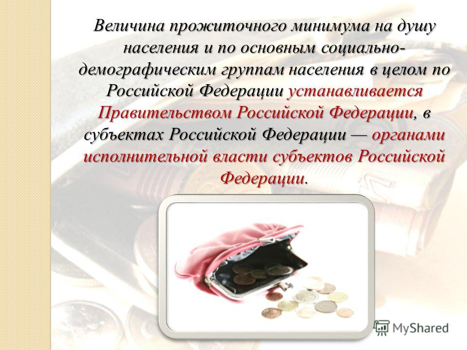 Величина прожиточного минимума на душу населения и по основным социально- демографическим группам населения в целом по Российской Федерации устанавливается Правительством Российской Федерации, в субъектах Российской Федерации органами исполнительной