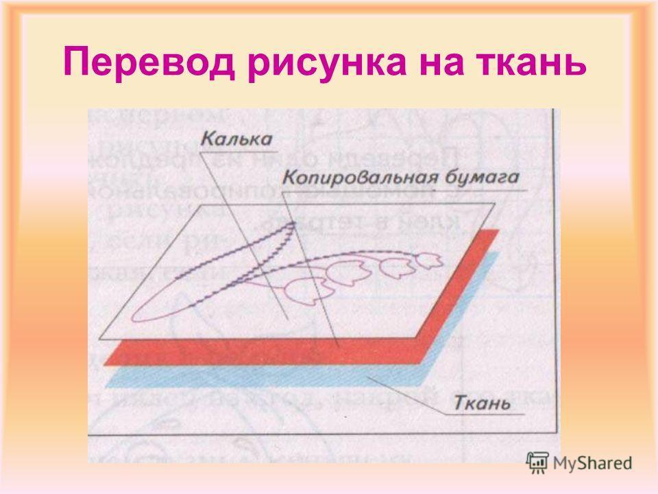 Разметка рисунка на ткани 1.Сложи ткань вчетверо и зафиксируй сгибы 2.По полученным линиям наметь осевые линии стежками «вперед иголку» 3.Найди осевые линии рисунка 4.Совмести осевые линии рисунка и ткани