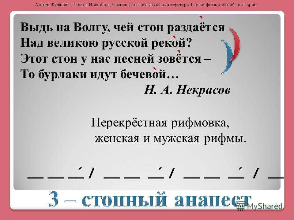 Выдь на Волгу, чей стон раздаётся Над великою русской рекой? Этот стон у нас песней зовётся – То бурлаки идут бечевой… Н. А. Некрасов __ __ _́_ / __ __ _́_ / __ __ _́_ / __ Перекрёстная рифмовка, женская и мужская рифмы. ` ` ` ` 11 Автор: Журавлёва И
