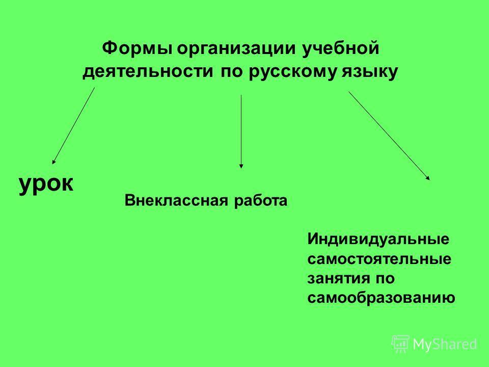 Формы организации учебной деятельности по русскому языку урок Внеклассная работа Индивидуальные самостоятельные занятия по самообразованию