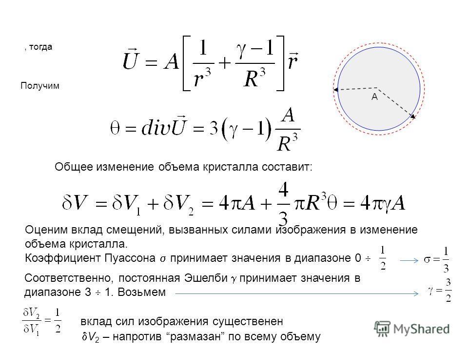 Общее изменение объема кристалла составит: Оценим вклад смещений, вызванных силами изображения в изменение объема кристалла. Коэффициент Пуассона принимает значения в диапазоне 0 Соответственно, постоянная Эшелби принимает значения в диапазоне 3 1. В