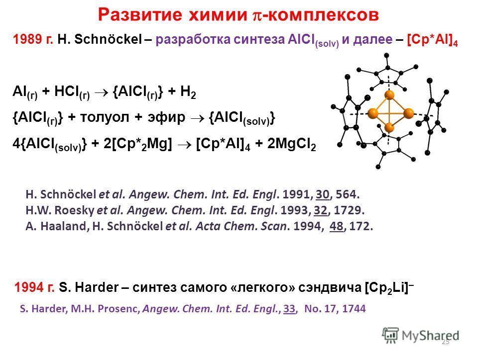 25 1989 г. H. Schnöckel – разработка синтеза AlCl (solv) и далее – [Cp*Al] 4 1994 г. S. Harder – синтез самого «легкого» сэндвича [Cp 2 Li] – Развитие химии -комплексов Al (г) + HCl (г) {AlCl (г) } + H 2 {AlCl (г) } + толуол + эфир {AlCl (solv) } 4{A