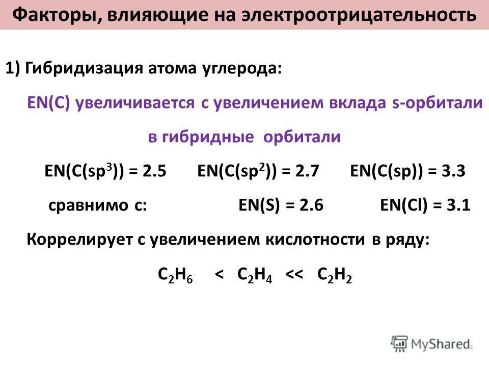 Факторы, влияющие на электроотрицательность 1) Гибридизация атома углерода: EN(C) увеличивается с увеличением вклада s-орбитали в гибридные орбитали EN(C(sp 3 )) = 2.5 EN(C(sp 2 )) = 2.7 EN(C(sp)) = 3.3 сравнимо с: EN(S) = 2.6 EN(Cl) = 3.1 Коррелируе