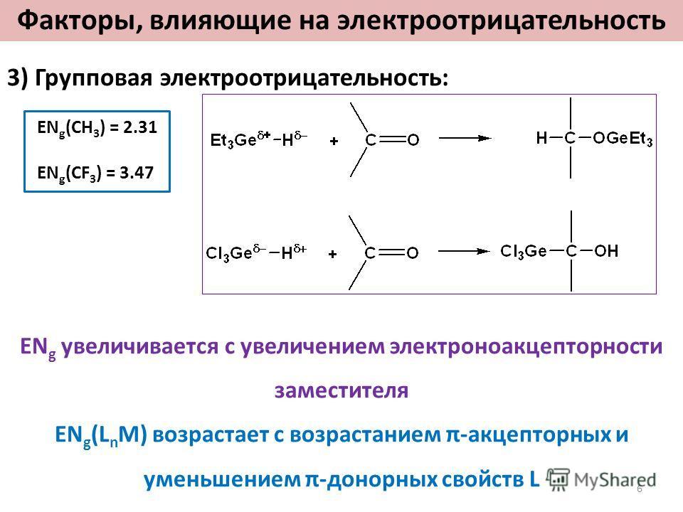 3) Групповая электроотрицательность: EN g (CH 3 ) = 2.31 EN g (CF 3 ) = 3.47 EN g увеличивается с увеличением электроноакцепторности заместителя EN g (L n M) возрастает с возрастанием π-акцепторных и уменьшением π-донорных свойств L Факторы, влияющие