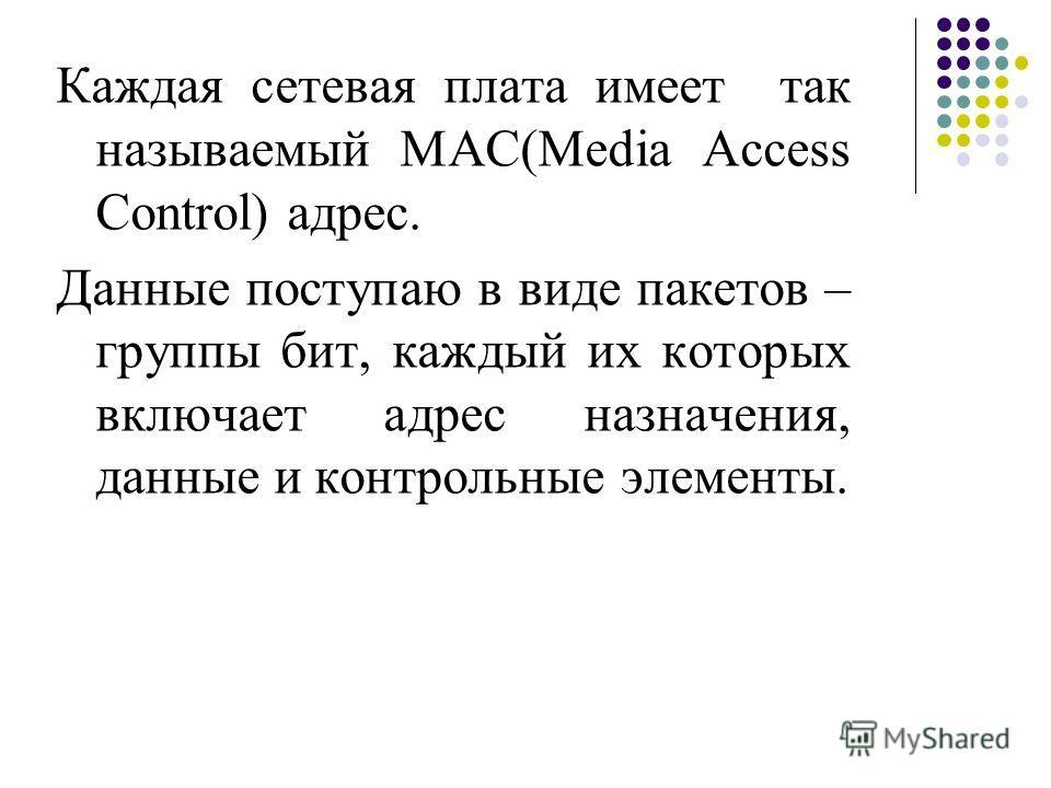 Каждая сетевая плата имеет так называемый MAC(Media Access Control) адрес. Данные поступаю в виде пакетов – группы бит, каждый их которых включает адрес назначения, данные и контрольные элементы.