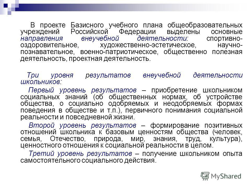В проекте Базисного учебного плана общеобразовательных учреждений Российской Федерации выделены основные направления внеучебной деятельности: спортивно- оздоровительное, художественно-эстетическое, научно- познавательное, военно-патриотическое, общес