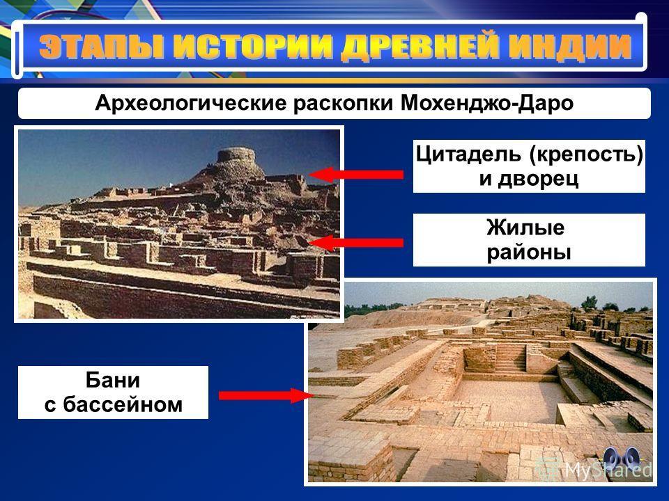 Археологические раскопки Мохенджо-Даро Цитадель (крепость) и дворец Жилые районы Бани с бассейном