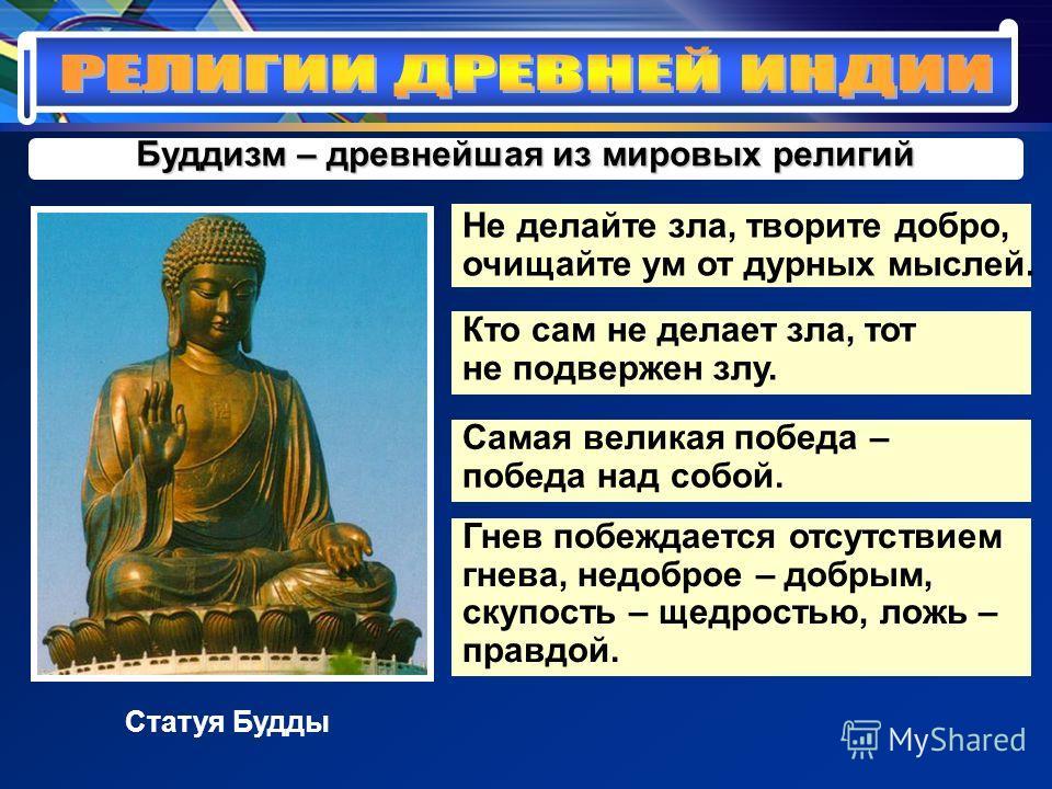 Буддизм – древнейшая из мировых религий Не делайте зла, творите добро, очищайте ум от дурных мыслей. Статуя Будды Кто сам не делает зла, тот не подвержен злу. Самая великая победа – победа над собой. Гнев побеждается отсутствием гнева, недоброе – доб