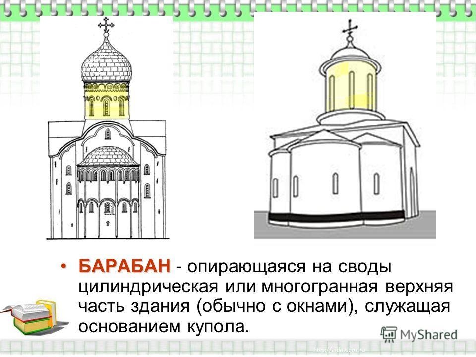 БАРАБАНБАРАБАН - опирающаяся на своды цилиндрическая или многогранная верхняя часть здания (обычно с окнами), служащая основанием купола.
