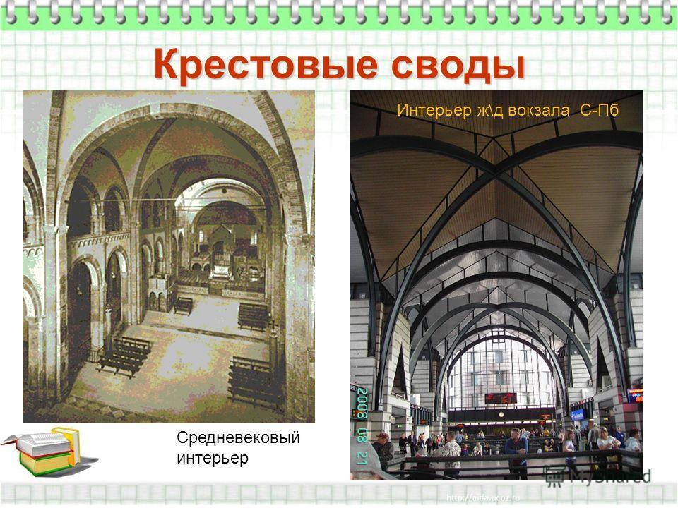 Крестовые своды Средневековый интерьер Интерьер ж\д вокзала С-Пб