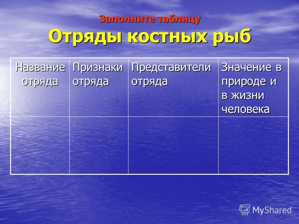 Заполните таблицу Отряды костных рыб Название отряда Признаки отряда Представители отряда Значение в природе и в жизни человека